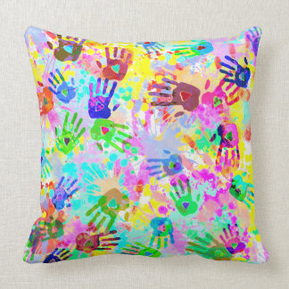 holiES - hands splashes colored grunge pattern 2 Throw Pillow