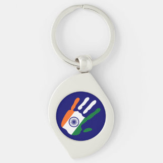 holiES - India Flag Hand + your backgrond color Silver-Colored Swirl Keychain