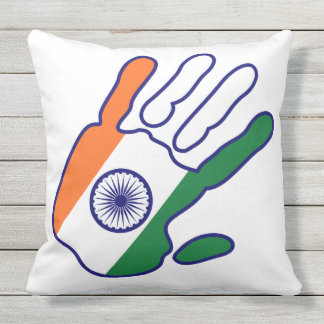 holiES - India Flag Hand + your backgrond color Throw Pillow