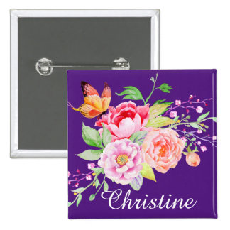 holiES - Watercolor Spring Flowers Bouquet 2 2 Inch Square Button