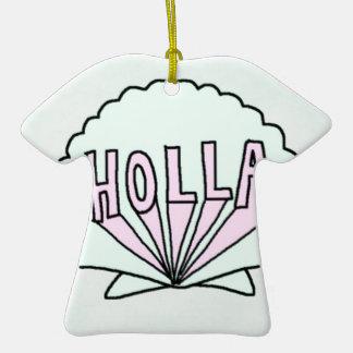 """HOLLA"" Hipster Seashell Design Ornaments"