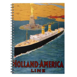 Holland America Line Vintage Poster Restored Notebook