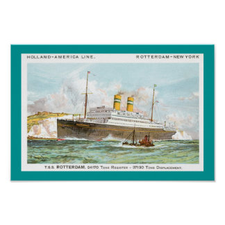 Holland America Line's Rotterdam of 1908 Poster