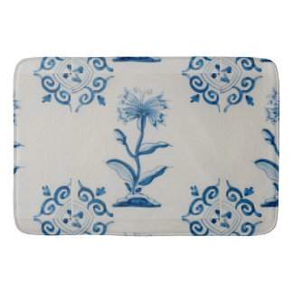 Holland Blue and White Flowers Bath Mat