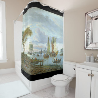 Holland Boats Canal Sailboats Ocean Shower Curtain