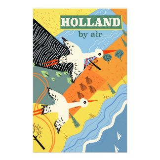 Holland by air vintage vacation print stationery