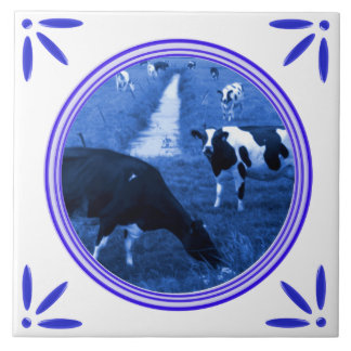 Holland Cows Delft Blue Printed Tile