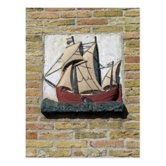 Holland Gable Stone of Dutch Ship Postcard