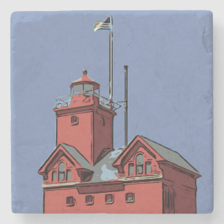 HOLLAND HARBOR LIGHT STONE COASTER