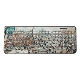 Holland Ice Skaters Winter Canal Wireless Keyboard
