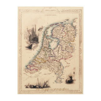 """Holland Map 1851"" Wood Canvas"