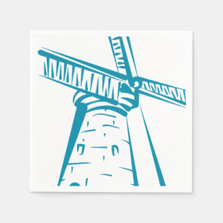 Holland Windmill in Blue Napkin