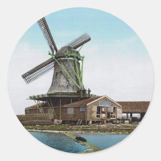 Holland Windmill Round Stickers