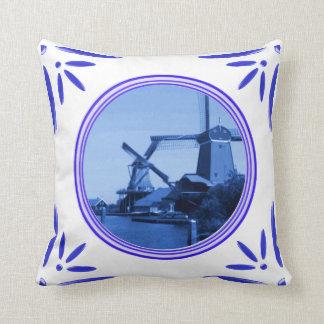 Holland Windmills Amsterdam Delft-Blue-Tile-Look Throw Pillow