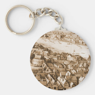Hollar's Globe Theatre Long View of London Keychains