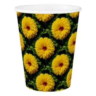 Holligold Blossoming Yellow Pot Marigold Flower Paper Cup