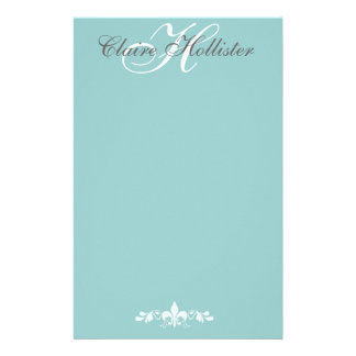 Hollister Monogram  Pale Blue Feminine Personal Stationery