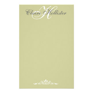 Hollister Monogrammed Sage Custom Personalized Stationery