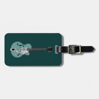 Hollow-bodied Electric Guitar bluegreen Luggage Tag