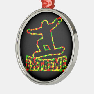 HOLLOW EXTREME SNOWBOARDER IN RGY CAMO Silver-Colored ROUND ORNAMENT