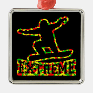 HOLLOW EXTREME SNOWBOARDER IN RGY CAMO Silver-Colored SQUARE ORNAMENT