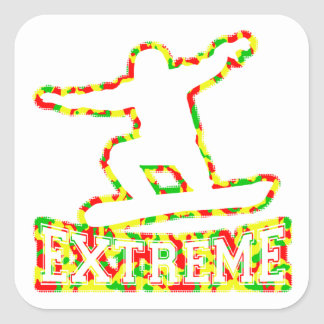 HOLLOW EXTREME SNOWBOARDER IN RGY CAMO SQUARE STICKER