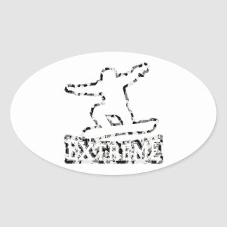 HOLLOW EXTREME SNOWBOARDER IN URBAN CAMO OVAL STICKER