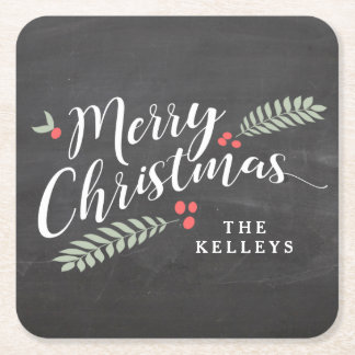 Holly and Berries Merry Christmas Personalized Square Paper Coaster