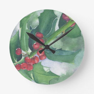 Holly and Berries Round Clock