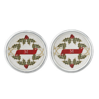 Holly and Berry Holiday Monogrammed for Him Cuff Links