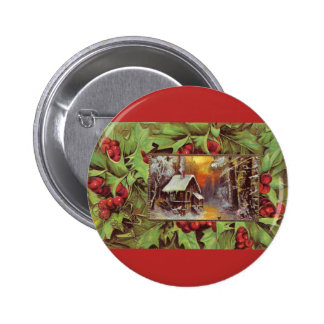 Holly and Cottage 2 Inch Round Button