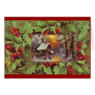 Holly and Cottage Greeting Card