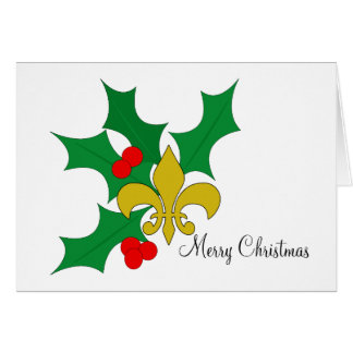 Holly and Fleur de Lis Card