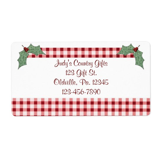 Holly and Gingham Label Shipping Label