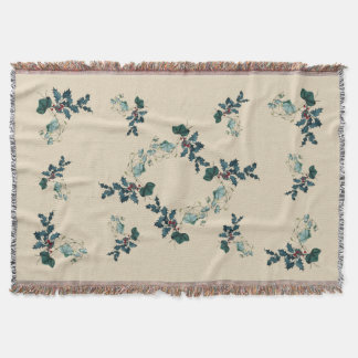 Holly and Ivy Christmas Woven Throw