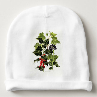 holly and ivy design Christmas Baby Beanie
