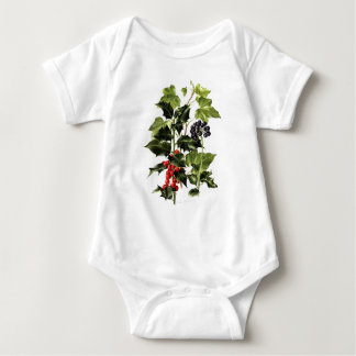 holly and ivy design Christmas Baby Bodysuit