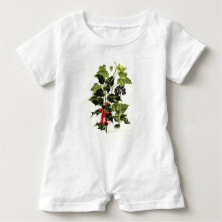 holly and ivy design Christmas Baby Romper