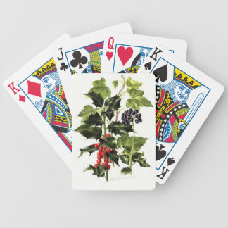 holly and ivy design Christmas Bicycle Playing Cards