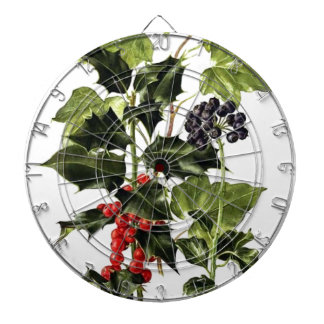 holly and ivy design Christmas Dartboard