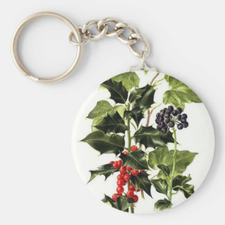 holly and ivy design Christmas Keychain
