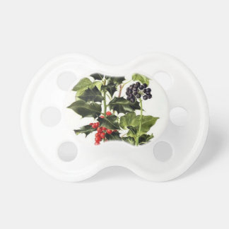holly and ivy design Christmas Pacifier