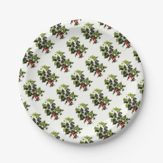 holly and ivy design Christmas Paper Plate