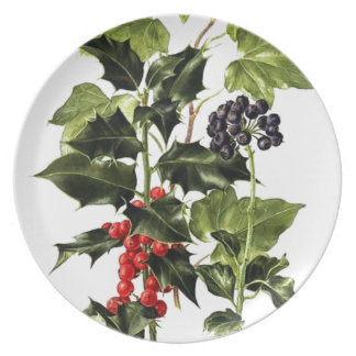 holly and ivy design Christmas Plate