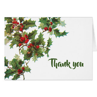 """Holly and Ivy """"Thank You"""" Card"""