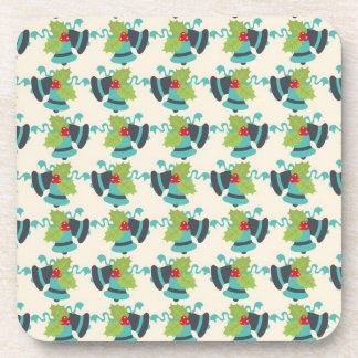 Holly and Jingle Bells Retro Christmas Pattern Drink Coaster