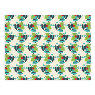 Holly and Jingle Bells Retro Christmas Pattern Postcard