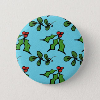 Holly and Mistletoe 2 Inch Round Button