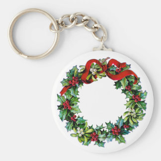 Holly and Mistletoe Christmas Wreath w/red Ribbon Keychain