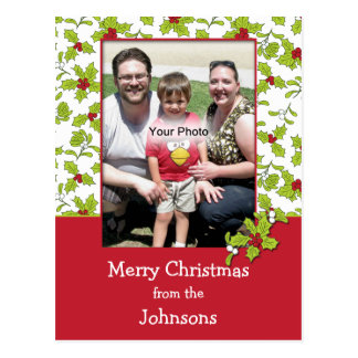 Holly and Mistletoe Photo Christmas Postcard